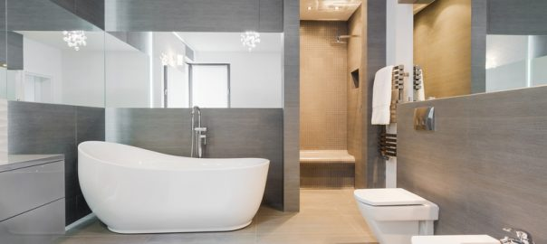 Modern bathroom design in grey