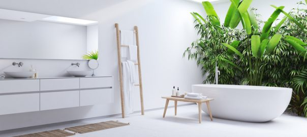 new modern white bathroom with tropic plants